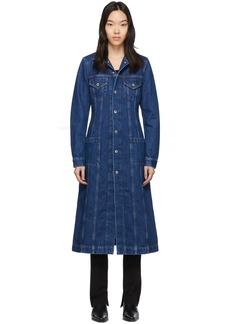 Helmut Lang Blue Denim Long Trucker Coat
