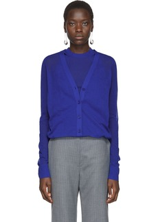 Helmut Lang Blue Double Layer Cardigan