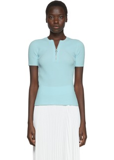 Helmut Lang Blue Essential Zip Short Sleeve Sweater