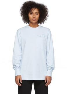 Helmut Lang Blue Raised Embroidery Long Sleeve T-Shirt
