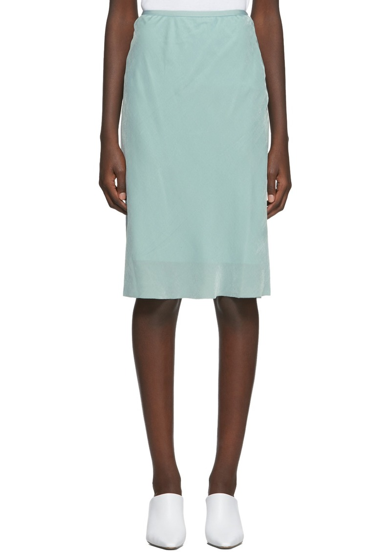 Helmut Lang Blue Silk Velvet Slip Skirt