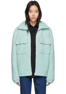 Helmut Lang Blue Wool Oversized Teddy Jacket