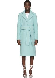 Helmut Lang Blue Wool Teddy Plush Belted Jacket