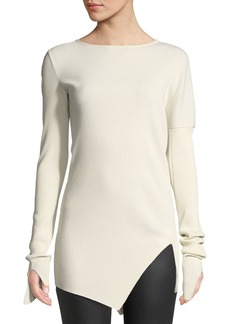 Helmut Lang Boat-Neck Ribbed Asymmetric Cotton Top