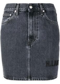 Helmut Lang brand-embroidered denim mini-skirt