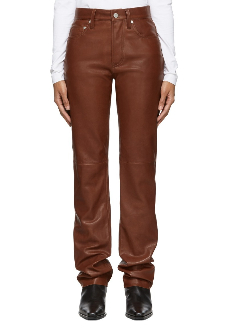 Helmut Lang Brown Leather Masc High Straight Trousers