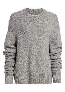 Helmut Lang Brushed Wool & Alpaca-Blend V-Neck Drop-Sleeve Sweater