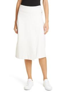 Helmut Lang Buckled Wool Blend Midi Skirt