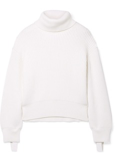 Helmut Lang Oversized Canvas-trimmed Ribbed Wool And Cotton-blend Turtleneck Sweater