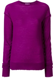 Helmut Lang cashmere distressed effect knitted top