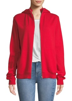 Helmut Lang Cashmere Zip-Front Hooded Sweater
