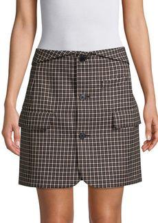 Helmut Lang Checkered Button Front Wool Skirt