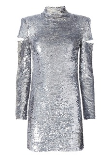 Helmut Lang Cold Shoulder Disco Sequin Dress