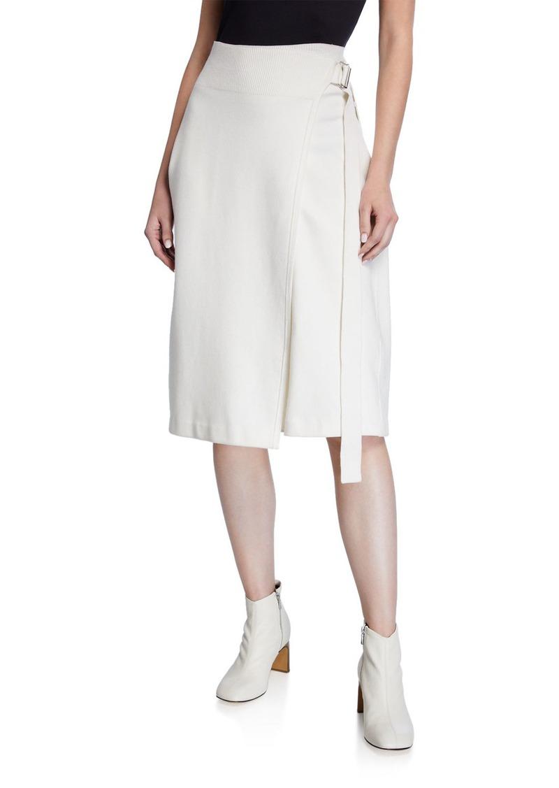 Helmut Lang Compact Wool Midi Wrap Skirt