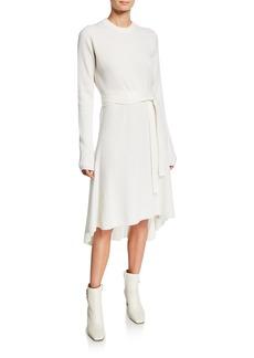Helmut Lang Crewneck Long-Sleeve Ribbed High-Low Dress