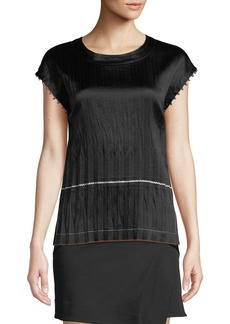 Helmut Lang Crinkle Pleated Crewneck Satin Top