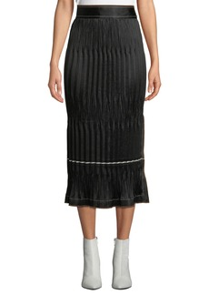 Helmut Lang Crinkle Pleated Side-Slit Midi Skirt