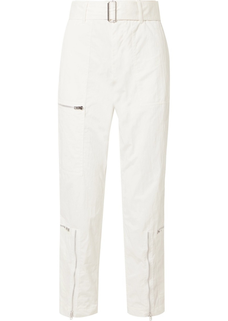 Helmut Lang Cropped Belted Cotton-blend Twill Straight-leg Pants
