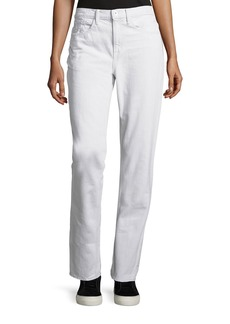 Helmut Lang Cropped Cotton Ankle Jeans  White