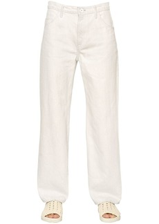 Helmut Lang Cropped Vintage White Cotton Denim Jeans