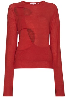 Helmut Lang cutout knitted wool silk-blend top