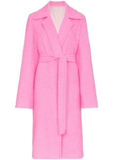 Helmut Lang disco pink belt tie wool coat