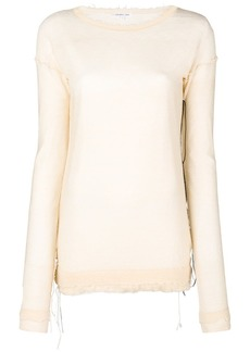 Helmut Lang distressed-hem fitted sweater