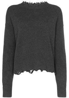 Helmut Lang distressed long sleeve wool-blend jumper
