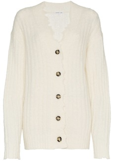 Helmut Lang distressed trim knitted cardigan