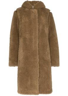 Helmut Lang double-layer faux fur parka coat