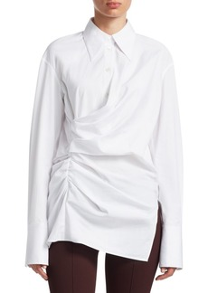 Helmut Lang Draped Cotton Poplin Shirt