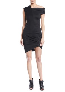 Helmut Lang Draped One-Shoulder Mini Dress
