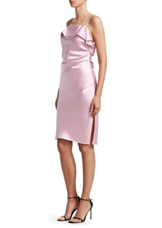 Helmut Lang Draped Satin Sheath Dress