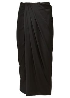Helmut Lang Draped Silk Midi Skirt