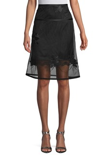 Helmut Lang Embroidered A-Line Skirt