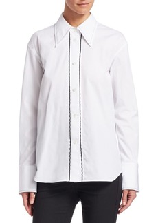Helmut Lang Embroidered Cotton Tuxedo Shirt