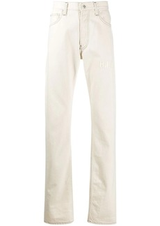 Helmut Lang embroidered logo straight jeans