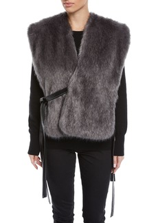 Helmut Lang Faux-Fur Waistcoat with Leather Ties