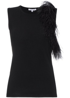Helmut Lang Feather Trim Tank Top
