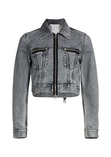 Helmut Lang Femme Little Trucker Cropped Denim Jacket