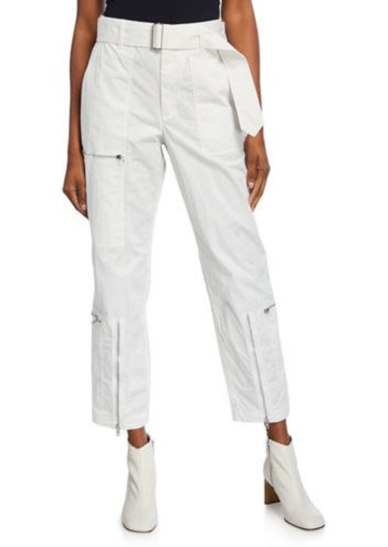 Helmut Lang Flight Straight-Leg Belted Pants with Zippers