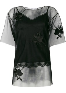 Helmut Lang floral embroidered layered T-shirt