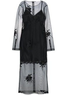 Helmut Lang floral embroidered mesh dress