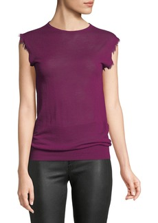 Helmut Lang Fray Sleeveless Fine Cashmere Top