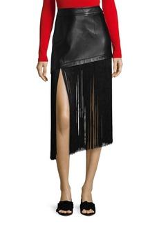 Helmut Lang Fringe-Hem Leather Mini Skirt