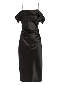 Helmut Lang Front Drape Satin Dress