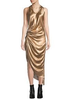 Helmut Lang Gathered Metallic Viscose Cocktail Dress with Fringe