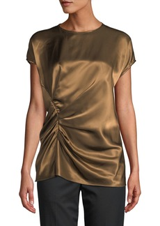 Helmut Lang Gathered Viscose Crewneck Top