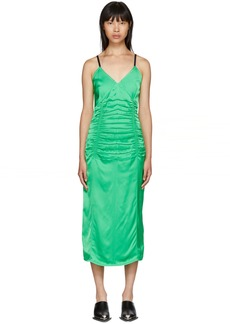 Helmut Lang Green Ruched Slip Dress