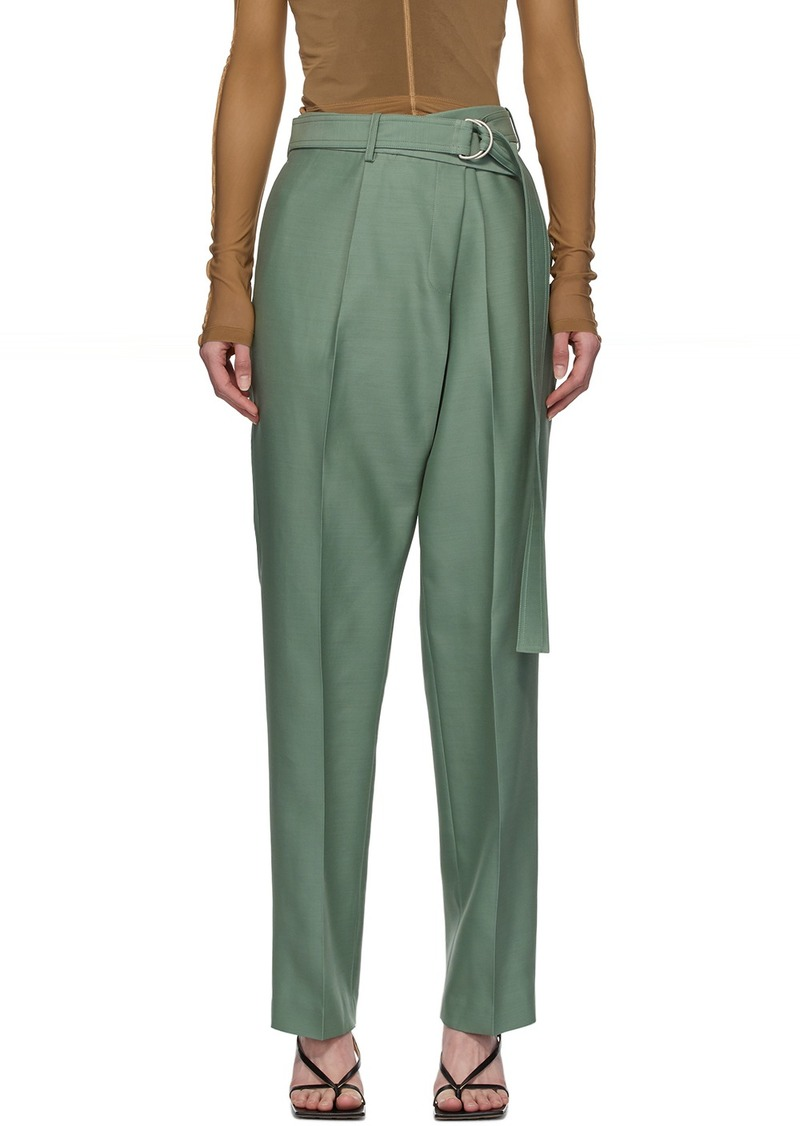 Helmut Lang Green Silk Wrap Trousers